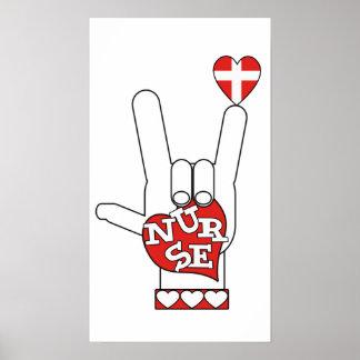 Lenguaje de signos del ASL te amo - ENFERMERA del  Posters