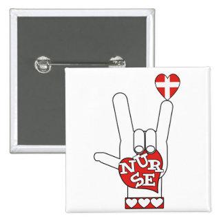 Lenguaje de signos del ASL te amo - ENFERMERA del  Pin Cuadrada 5 Cm