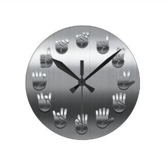 Lenguaje de signos - inoxidable reloj redondo mediano