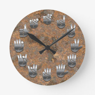 Lenguaje de signos - oxidado reloj redondo mediano