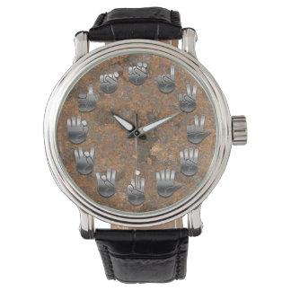 Lenguaje de signos - oxidado relojes de pulsera