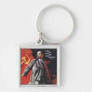 Lenin Silver-Colored Square Keychain