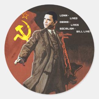 Lenin Lived Obama Lives Classic Round Sticker