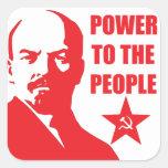 "Lenin ""poder pegatinas de la gente"" calcomanías cuadradass personalizadas"