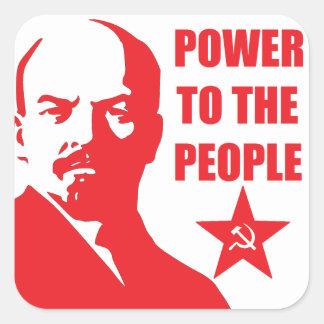 "Lenin ""poder pegatinas de la gente"" pegatina cuadrada"