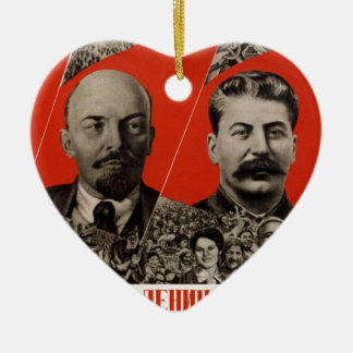 Lenin & Stalin Communist Propaganda Ceramic Ornament