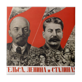 Lenin & Stalin Communist Propaganda Tile