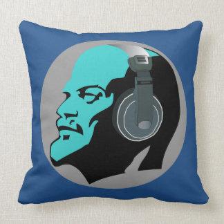 LENIN WITH HEADPHONES (BLUE DESIGN) Throw Pillow