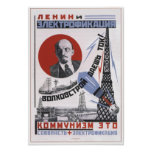 Lenin y electricidad poster