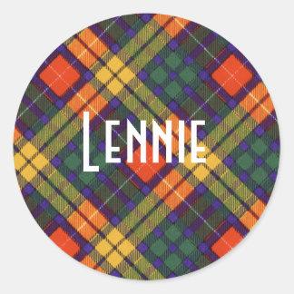 Lennie clan Plaid Scottish kilt tartan Classic Round Sticker
