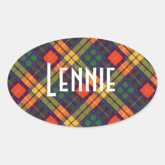 Lennie clan Plaid Scottish kilt tartan Oval Sticker