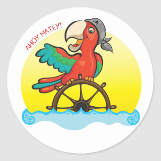 Lenny the Pirate Parrot Classic Round Sticker