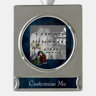 Lenore among the Angels. Silver Plated Banner Ornament