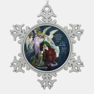 Lenore among the Angels. Snowflake Pewter Christmas Ornament