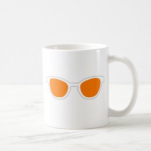 Lente anaranjada del borde blanco de las gafas de  tazas