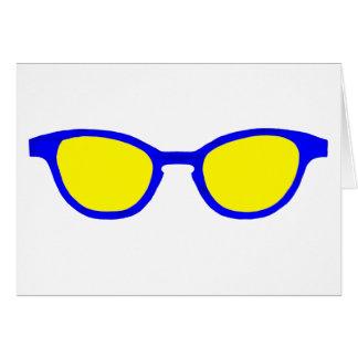 Lente azul del amarillo del borde de las gafas de tarjetón