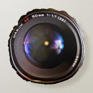 Lente de cámara de la fotografía cojín redondo