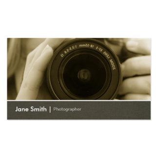 Lente de cámara elegante del periodista tarjetas de visita