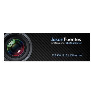 Lente de cámara en falsa fibra de carbono tarjeta de negocio