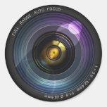 Lente de cámara etiquetas redondas