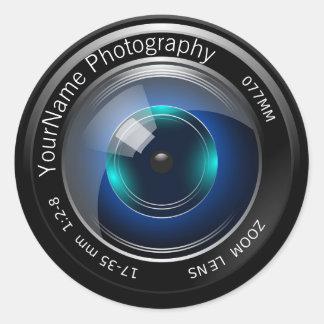 Lente de cámara personalizada pegatina redonda