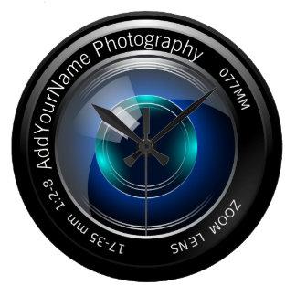 Lente de cámara personalizada reloj redondo grande