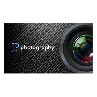 Lente de cámara profesional del fotógrafo tarjeta de visita