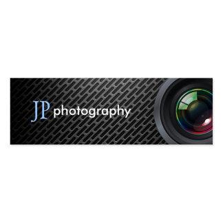 Lente de cámara profesional del fotógrafo tarjetas de visita