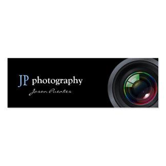 Lente de cámara profesional del fotógrafo tarjetas de visita mini