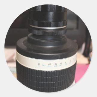 Lente del telescopio de la cámara pegatinas redondas