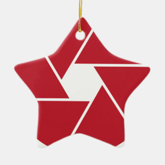 Lente que abre diseño gráfico adorno navideño de cerámica en forma de estrella