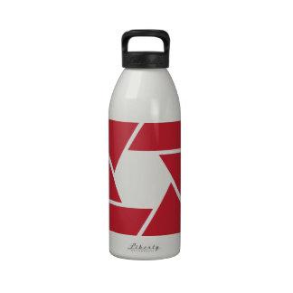 Lente que abre diseño gráfico botella de beber