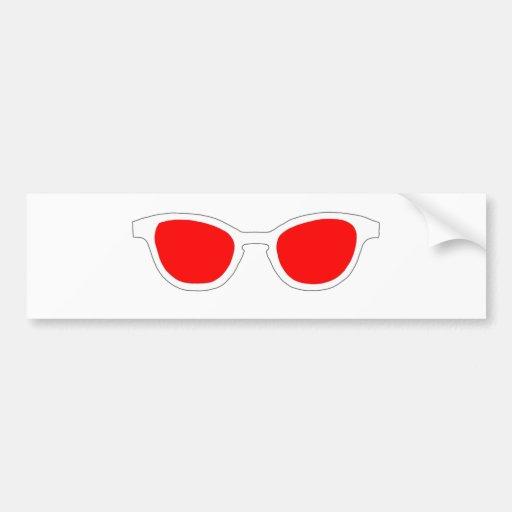 Lente roja del borde blanco de las gafas de sol el etiqueta de parachoque