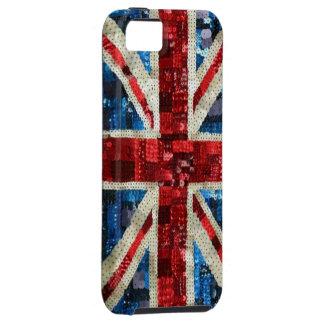 Lentejuela de Union Jack bling el iPhone inglés iPhone 5 Carcasa