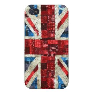 Lentejuela de Union Jack bling iPhone inglés BRITÁ iPhone 4 Fundas