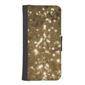 Lentejuela del oro funda billetera para teléfono