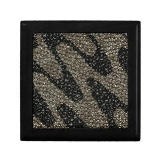 Lentejuela ondulada negra y blanca caja de regalo