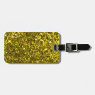 Lentejuelas amarillas etiquetas de equipaje
