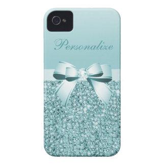 Lentejuelas, arco y diamante azules impresos del carcasa para iPhone 4