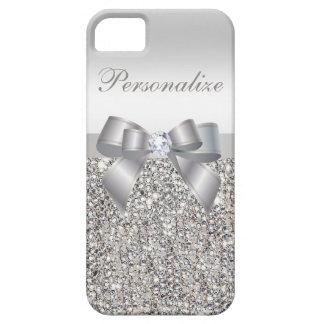 Lentejuelas, arco y diamante de plata impresos funda para iPhone SE/5/5s