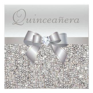 """Lentejuelas, arco y diamante de plata impresos invitación 5.25"""" x 5.25"""""""