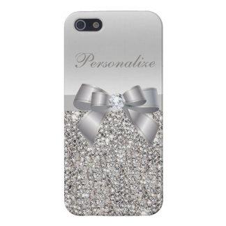 Lentejuelas, arco y diamante de plata iPhone 5 carcasa