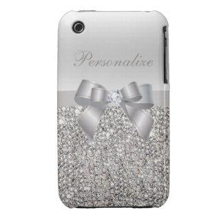 Lentejuelas, arco y diamante de plata personalizad iPhone 3 carcasa
