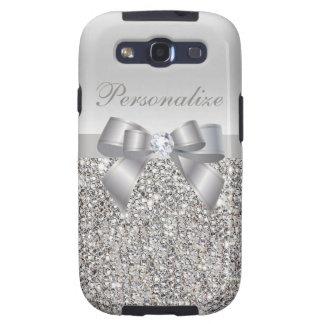 Lentejuelas, arco y diamante de plata personalizad samsung galaxy s3 funda
