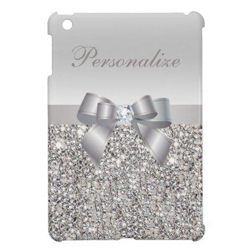 Lentejuelas, arco y diamante de plata personalizad iPad mini cárcasas