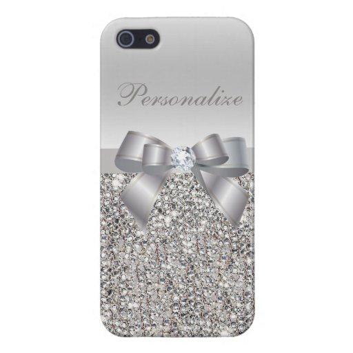 Lentejuelas, arco y diamante de plata personalizad iPhone 5 cárcasas