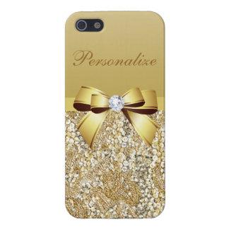 Lentejuelas, arco y diamante del oro iPhone 5 fundas