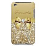 Lentejuelas, arco y diamante del oro personalizado barely there iPod fundas