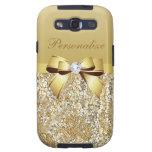 Lentejuelas, arco y diamante del oro personalizado samsung galaxy s3 fundas