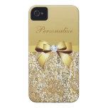 Lentejuelas, arco y diamante del oro personalizado iPhone 4 Case-Mate coberturas